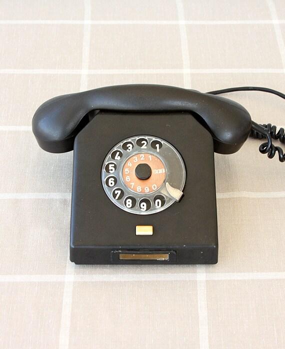 Vintage rotary phone German dial phone Black bakelite Nordfern W63 Mid century Old telephone Classic desk phone Germany DDR