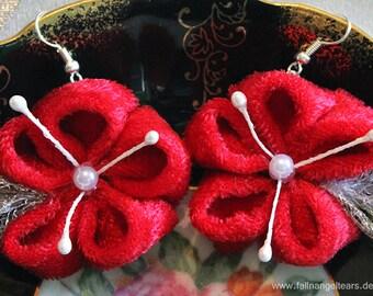 Red Kanzashi Earrings