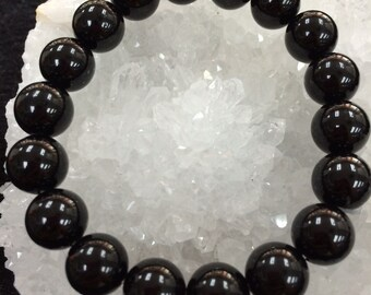 Natural Round Black Tourmaline Crystal Bracelets, Birthstone For October, Unique Gifts, 8mm beads and 10mm beads