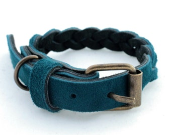 Leather dog collar Suede dog collar Cat Puppy Braided collar small dogs collars Cable collars Suede collars Different Sizes XS S M