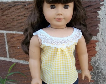 18 inch Doll Clothes - Lacy Yellow Gingham Tank Top - Handmade for American Girl Doll - Made From Liberty Jane's Sorrento Top Pattern