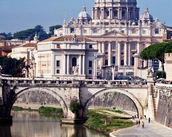 Saint Peter Basilica in the Vatican along the Tiber River