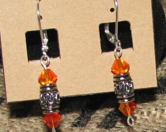 Amber Swarovski silver earrings