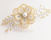 Gold bridal hair comb, gold flower hair comb, bridal flower headpiece,wedding flower hair clip,wedding flower hair comb,gold wedding hair