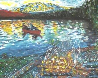 Boat On A Lake : Original art. Landscape natural painting. Acrylic 60x30cm