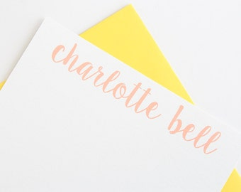 Personalized Stationery - Set of 10 // Women's Stationery Set // Calligraphy Stationery // Modern Stationery // Note Cards for Her