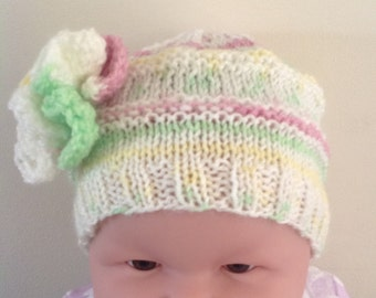 Frilly Flower Knit Hat
