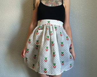 1950's Inspired Waist Apron with Vintage Floral Fabric