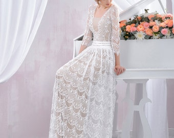 Long Lace Wedding Dress / Delicate Ivory Bridal Gown with sleeves