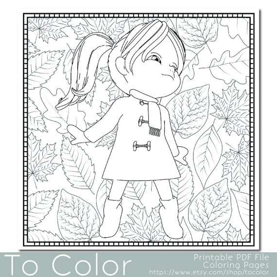 Girl and Autumn Leaves Coloring Page for Adults PDF / JPG