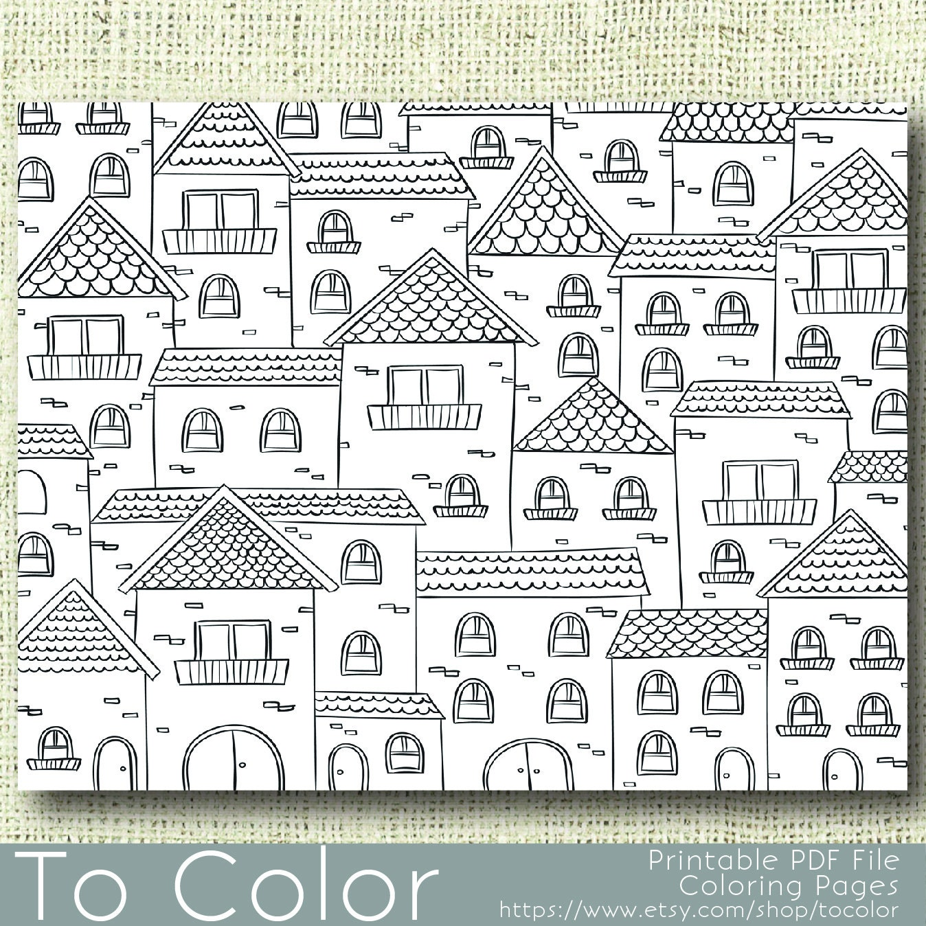 House Coloring Pages Pdf : Printable houses coloring page for adults pdf jpg instant