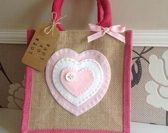 Love heart jute bag.lunch bag/gift bag/present.