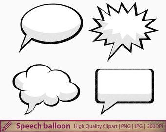 Speech bubble clipart, comic balloon clip art, thought bubble, scrapbooking, commercial use, digital instant download, jpg png 300dpi