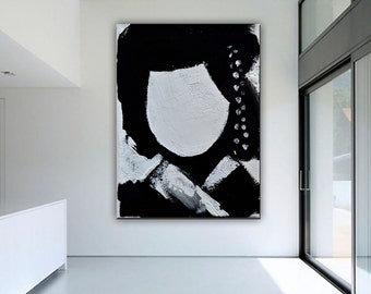 Large Oil Painting On Canvas, Asian Art Asian Decor Canvas Art, Black and White  Painting Minimalist , HAND PAINTED Original Art.
