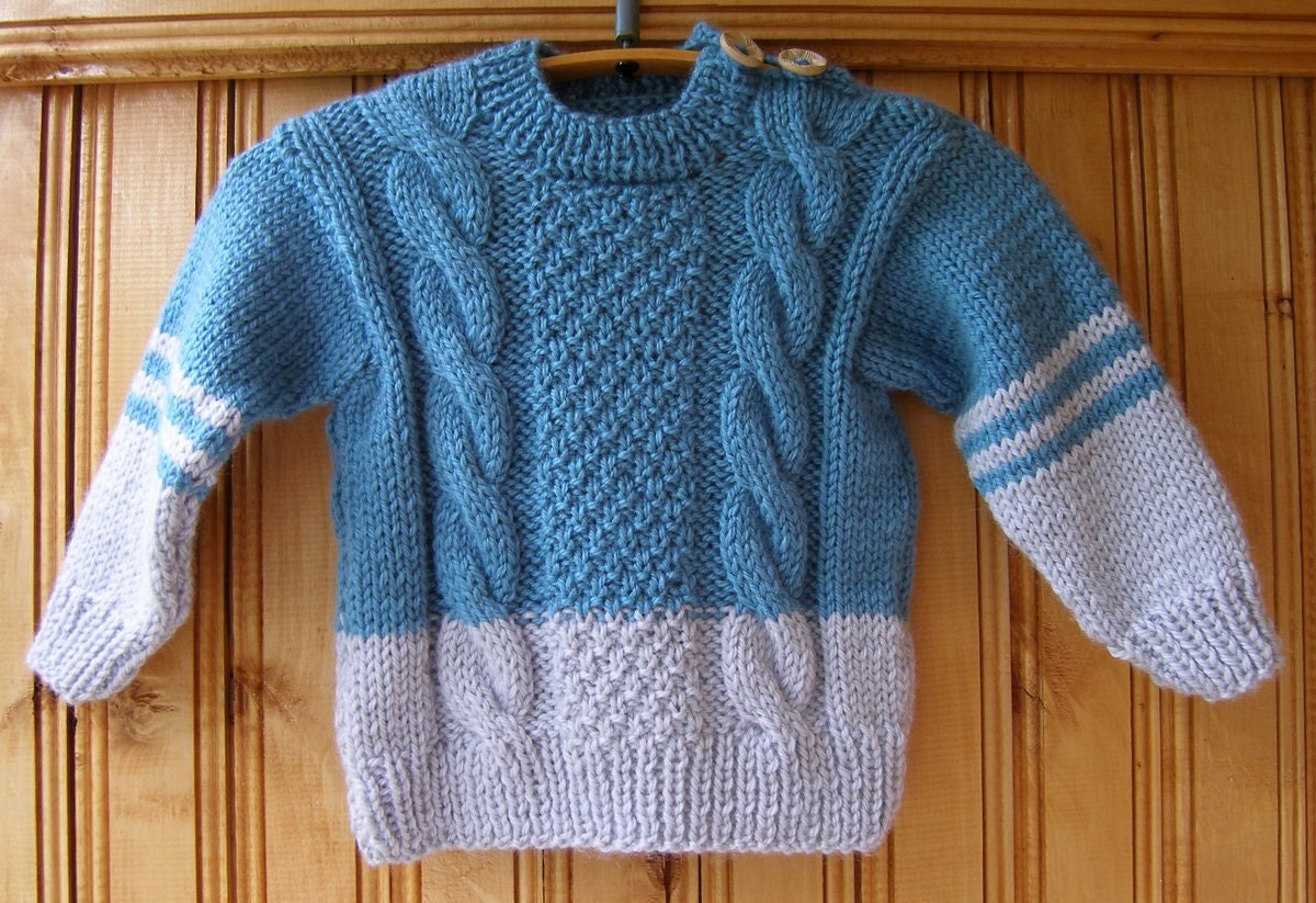 Blue gray Boys Girls kids handmade hand knit wool warm