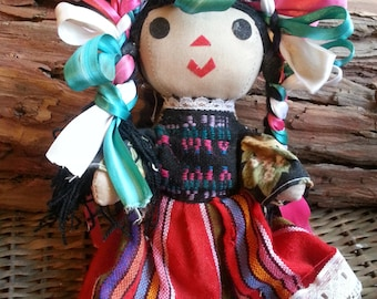 Vintage Native American / Mexican/ Hispanic Fabric Colorful Doll
