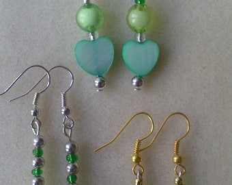 3 Pairs of Handmade Earrings With Green Theme