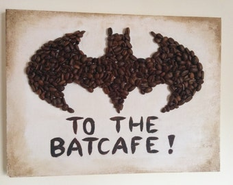 To the Batcafe - Batman signal made out of coffee beans on a 9' x 12' canvas