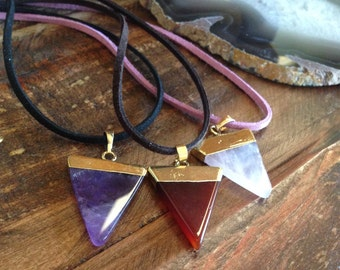 Triangle Crystal Necklaces//Amethyst//Red Agate//Clear Quartz