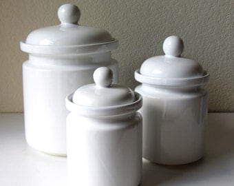 Set of 3 White Canisters