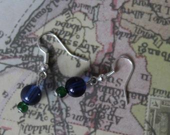 Handmade blue and green bead earrings