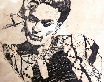 Large Frida Kahlo, Woodcut on Rag Paper, Black and White, Handprinted