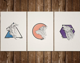 Animal Screenprint Set - Lions, and Wolves, and Bears Oh My!