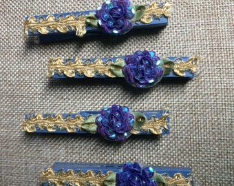 Sale!  Set of 4 purple and gold decorative clothespins with small purple flower