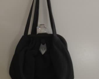 1940's black satin/ lucite  purse