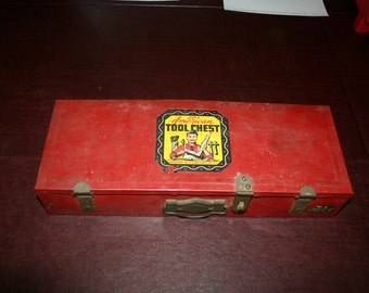 Vintage 1950s American Tool Chest Boys Tool Box w/ Some Original Tool Set