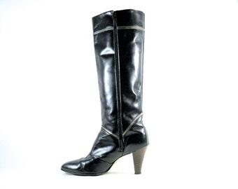 Tall Black Leather Boots 6 High Heel Side Zip RARE 70s CHEVRON Stripe