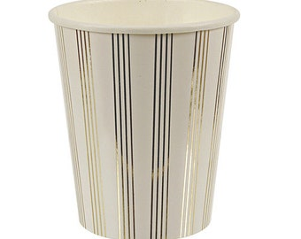 CLEARANCE - Gold foil pin stripes Paper Cups.  Set of 8.  Gold paper Party cups.  Gold cups.  Gold foil cups.  Gold paper cups. White cups.