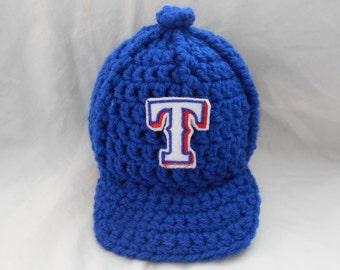 Texas Rangers  Inspired Crochet Baby Hat Baseball Newsboy Cap Hat with Embroidered Logo- Newborn, 0-3 Months, 3-6 Months, 6-12 Months