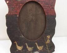 Antique hand carved wooden photo frame. Children, goose girl. Treen wood carving, folk art, traditional art