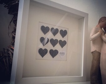 Lovely wedding gift idea - All you need is love or song lyrics of your choice personalised 3D hearts frame