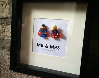 Lego Bride and Groom personalised wedding gift frame Superman & SuperWoman anniversary, valentines or just because gift