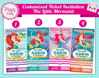 Little Mermaid Ticket Invitation Digital File Printable