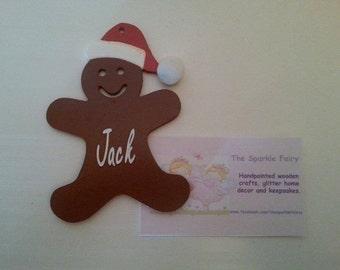 Personalised handpainted gingerbread man christmas tree decoration