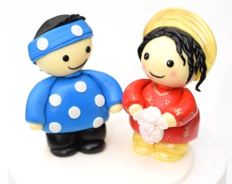 Fondant Engagement/ Wedding 3D Bride and Groom Couple Cake Toppers - Asian