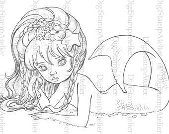 Little Mermaid 2. INSTANT DOWNLOAD Digital Digi Stamps.