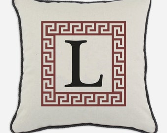 Rust Greek Key Alphabet Pillow