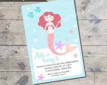 Mermaid Theme Kids Party Invitation DIY Printable MERMAID theme party printable invitations Personalised invitation