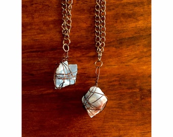 Blue Calcite Wire Wrapped Necklace