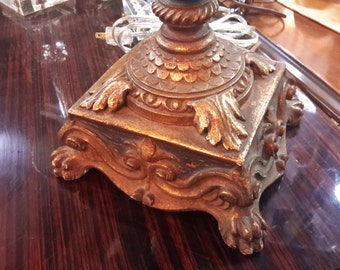 FRENCH GOLD Giltwood Lamp Antique Custom Hand Carved Exquisite Detail With Custom Shade Double Socket