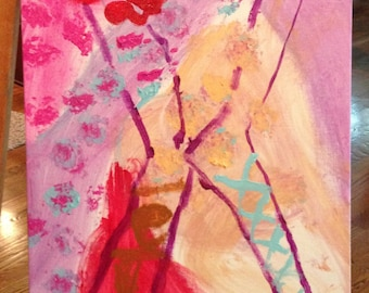 Rachel Marie's Painting Original-Acrylic Child's Painting, modern, abstract,  X pattern,  baby room decor, child's decor, pink, red, purple