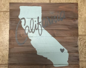 Wooden Sign with state and heart, California state sign