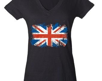 UK Flag United Kingdom Union Jack British Flag Ladies V-Neck Tshirt