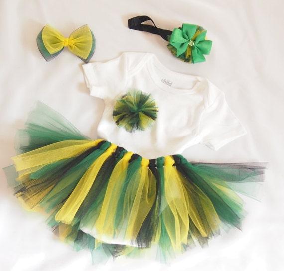 Jamaica Flag Tutu Set Girls bodysuit set by AckeeTreeClothing