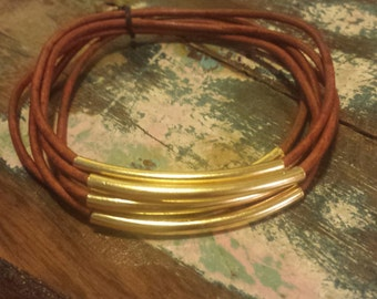 Cedar Leather Cord Bangles with Gold Metal Tubes, Set of 6 Bangles