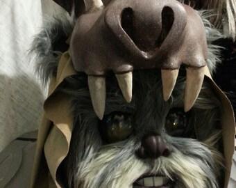 Teebo Ewok mask/display prop with Guerrek skull headress and hood